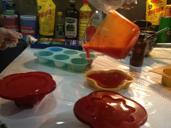Pouring into silicone molds.