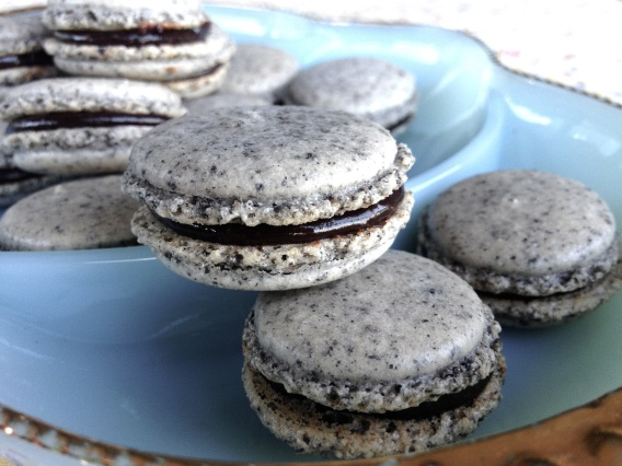 My first successful Black Sesame Macarons with Bittersweet Chocolate and Tahini Ganache filling!
